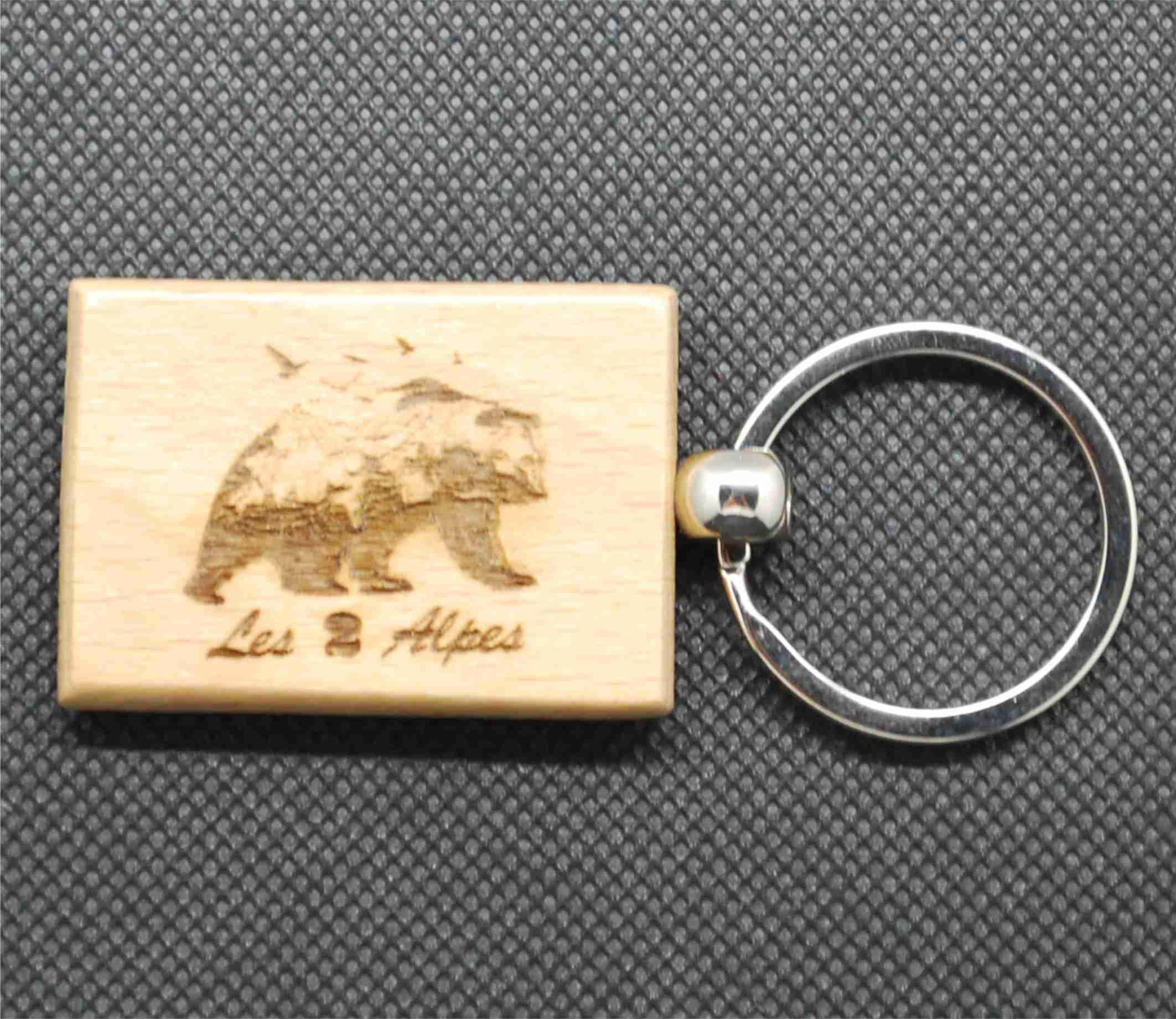 Porte-clefs en bois ours