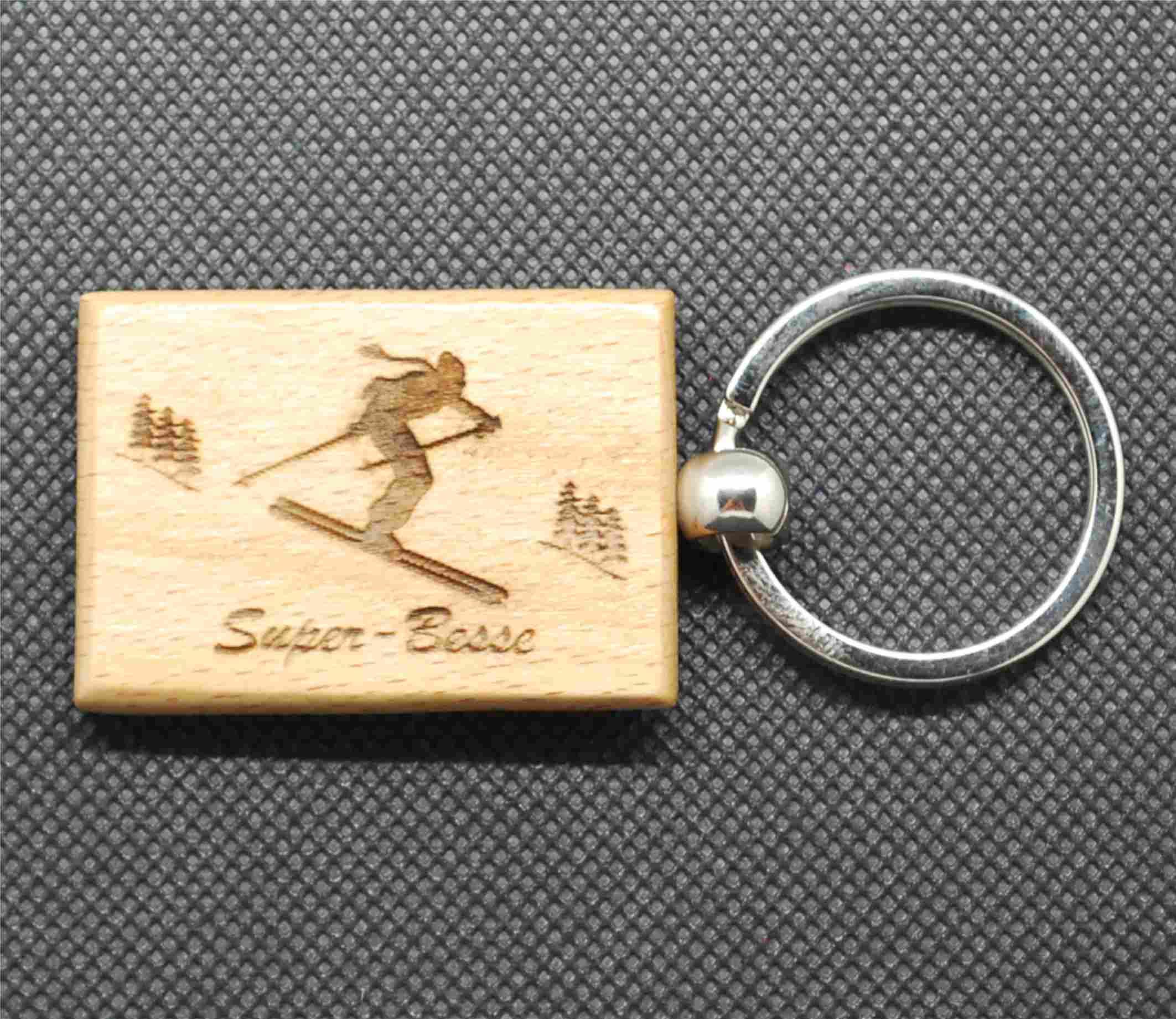 Porte-clefs en bois ski