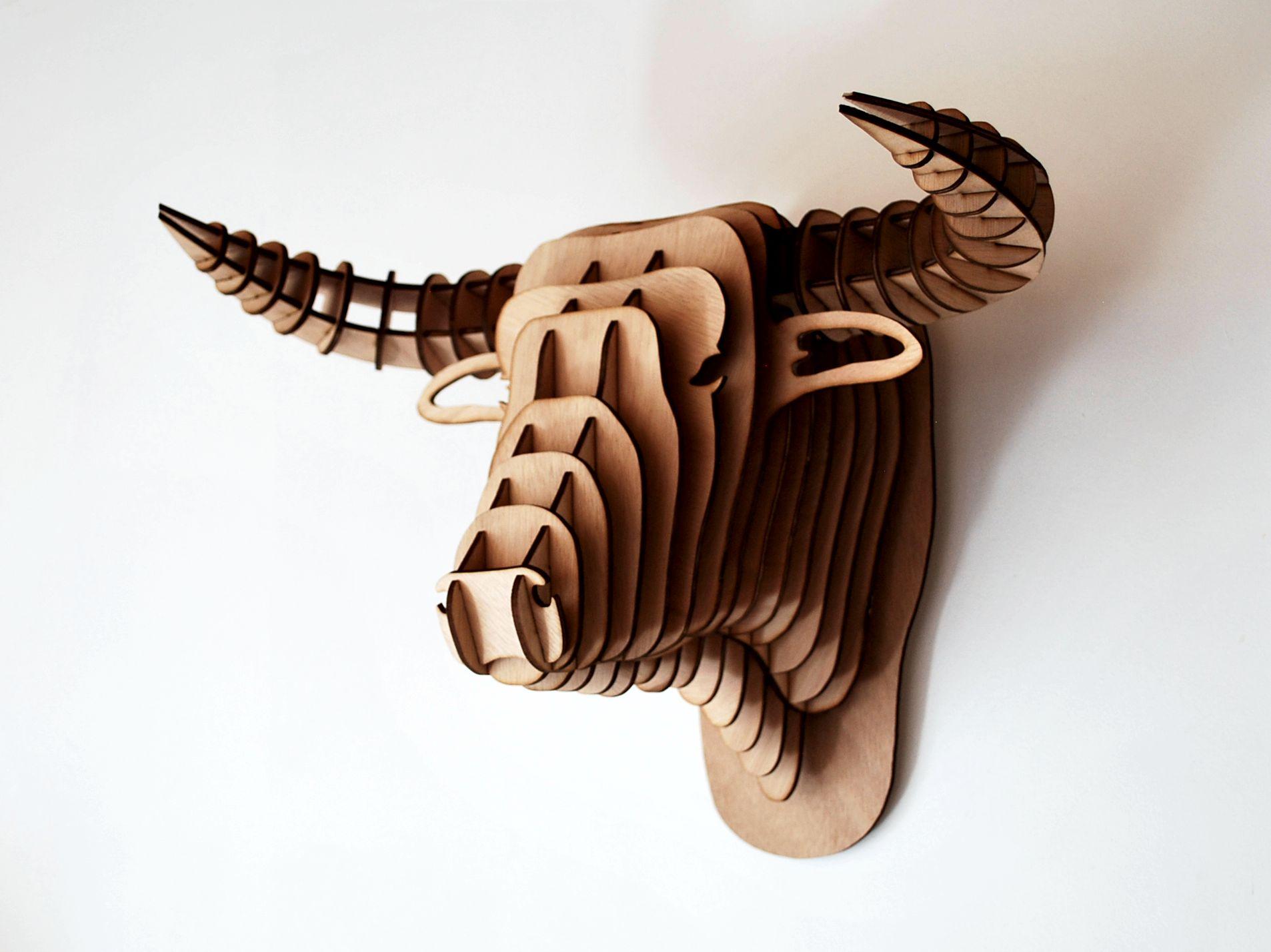 Animaux 3d en bois taureau