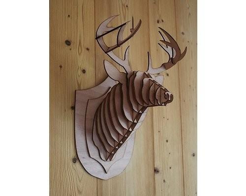 Tête de cerf en bois 3D decoration