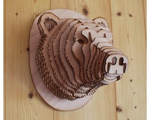 tête d'ours 3d decoration mural trophée